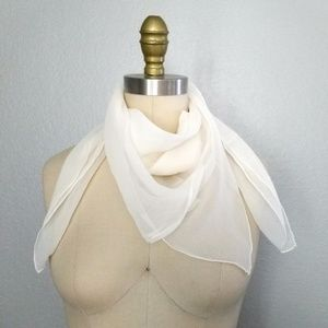 Vintage sheer silk scarf ascot hairtie